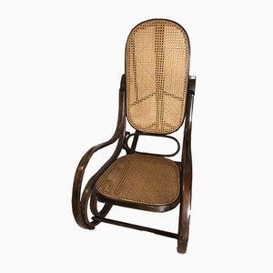 Rocking Chair en Paille de Vienne, 1940s