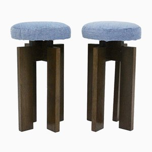 Mid-Century Modern Oak Stools, 1960s, Set of 2