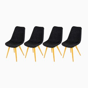 Mid-Century Grey & Yellow Chairs from Drevovyroba Ostrava, 1960s, Set of 4