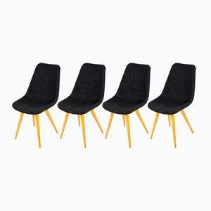 Mid-Century Grey & Yellow Chairs from Drevovyroba Ostrava, 1960s, Set of 4