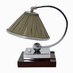 Lámpara de mesa Art Déco de metal cromado y arce, años 20