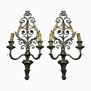 Antique Lacquered Wood & Wrought Iron Wall Lights, Set of 2