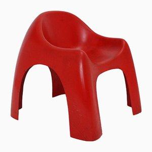 Moderner Mid-Century Stuhl aus rotem Kunststoff, 1960er