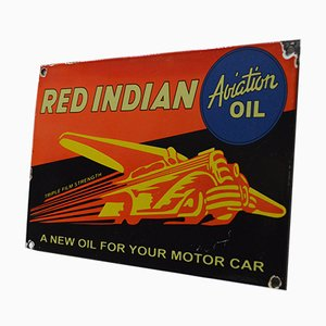 Vintage Enamel Red Indian Sign