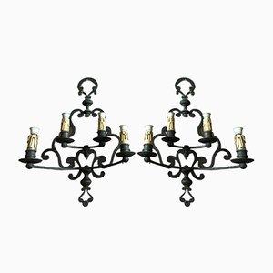 Lámparas de pared de bronce, años 40. Juego de 2
