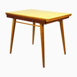 Mesa de comedor plegable de formica amarilla, años 60