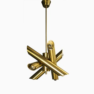 Vintage Modernist Brass Tube Ceiling Light