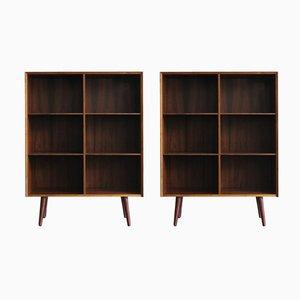 Librerías escandinavas de palisandro de Poul Hundevad, años 60. Juego de 2