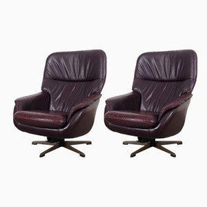 Vintage Leather Swivel Lounge Chairs, Set of 2