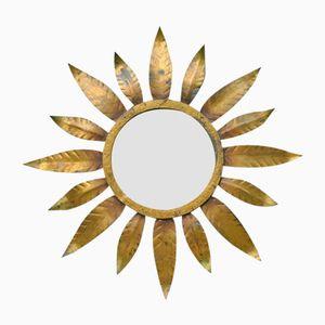 Spanischer Spiegel mit vergoldetem Eisenrahmen in Sonnen-Optik