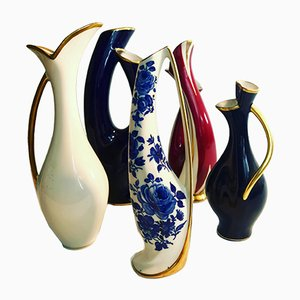 Vintage Porcelain Vases from Lindner, Set of 5