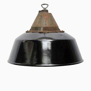 Lampe à Suspension d'Usine Vintage en Émail Noir et Fonte, 1950s