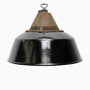 Vintage Factory Black Enamel & Cast Iron Pendant Lamp, 1950s