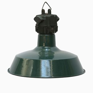 Vintage Industrial French Petrol Green Enamel Pendant Lamp