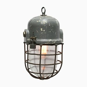 Vintage Industrial Hungarian Grey Cage Ceiling Lamp