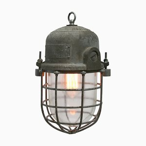 Vintage Industrial European Grey Cage Ceiling Lamp