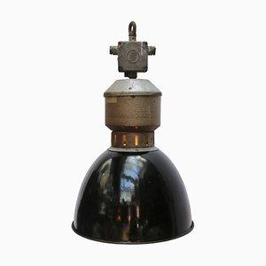 Vintage Industrial Black Enamel & Metal Pendant Lamp