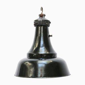 Lampe à Suspension Industrielle Vintage en Émail Noir, 1930s