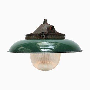 Grün emaillierte industrielle Vintage Hängelampe aus Gusseisen & Glas von Holophane