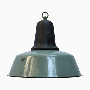 Vintage Industrial Petrol Enamel & Cast Iron Pendant Lamp