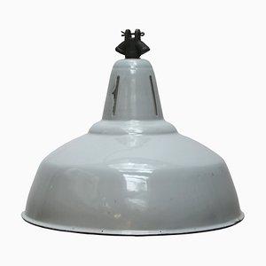 Lampe à Suspension Industrielle Vintage en Émail Gris de Philips