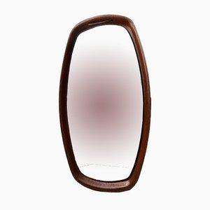 Specchio vintage in teak in pelle, Danimarca, anni '60