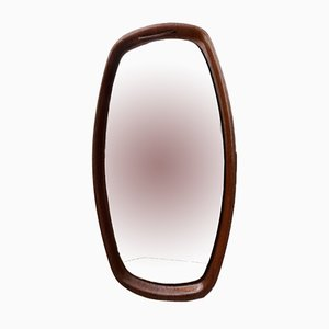 Vintage Danish Leather Suspended Teak Mirror, 1960s