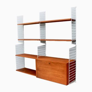 Swedish Teak Wall Unit by Kajsa & Nils Strinning for String, 1950s