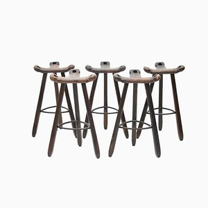 Spanish Brutalist Solid Wood Bar Stools, 1960s, Set of 5