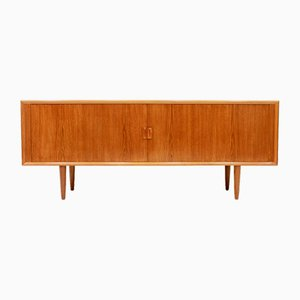 Large Teak Sideboard with Tambour Doors by Svend Åage Madsen for Faarup Møbelfabrik, 1950s