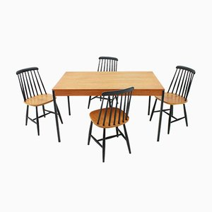 Table et Chaises Scandinaves en Teck de Nesto, 1950s