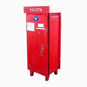 Buzón polaco vintage en rojo, años 70