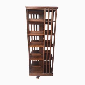 Großes antikes drehbares Bücherregal aus massivem Nussholz von Terquem