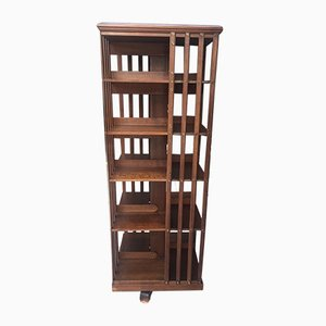 Large Antique Rotating Solid Walnut Bookcase by Terquem