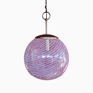 Lámpara de araña de cristal de Murano en espiral de Venini, años 60
