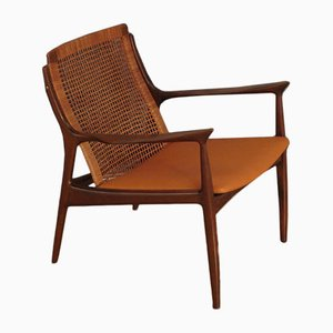 Rattan Lounge Chair by Ib Kofod Larsen for Selig, 1960s