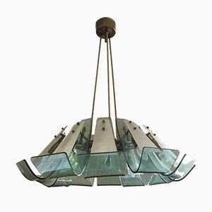 Italian Brass and Light Blue Glass Chandelier,1950s