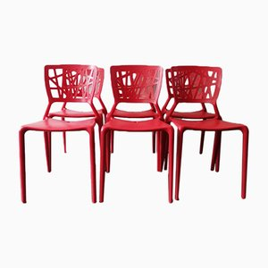 Red Chairs, 1980s, Set of 6