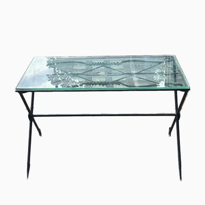 French Art Deco Painted Iron Coffee Table