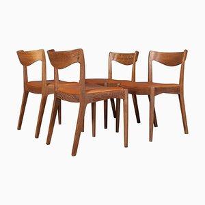 Chaises de Salle à Manger en Chêne & Cuir Aniline par Ib Kofod-Larsen pour Slagelse Møbelværk, 1950s, Set de 4
