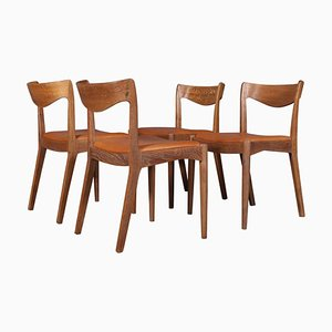 Oak & Aniline Leather Dining Chairs by Ib Kofod-Larsen for Slagelse Møbelværk, 1950s, Set of 4