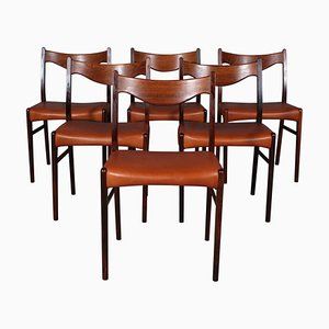 Modell GS61 Esszimmerstühle aus Palisander & Leder von Arne Wahl Iversen für Glyngøre Stolefabrik, 1960er, 6er Set