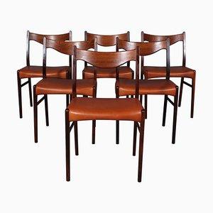 Sedie da pranzo GS61 in palissandro e pelle di Arne Wahl Iversen per Glyngøre Stolefabrik, anni '60, set di 6