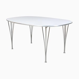 Ellipse White Laminate Dining Table by Piet Hein & Bruno Mathsson for Fritz Hansen, 1990s