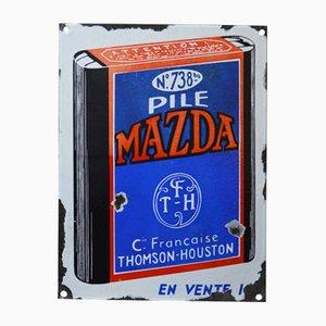 Cartel publicitario de pilas Mazda Mid-Century esmaltado, años 40
