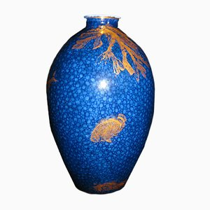 Antike kobaltblaue & vergoldete Vase von George Jones & Co.