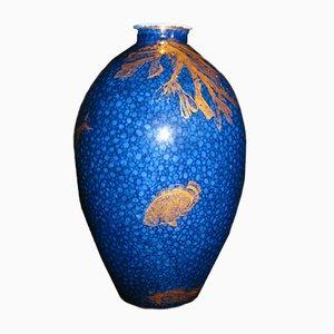 Antique Blue & Gilt Cobalt Crescent Vase from George Jones & Co.