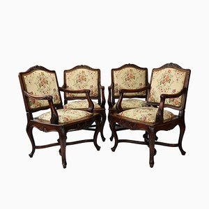 Louis XV Style Carved Walnut Armchairs, 1860, Set of 4