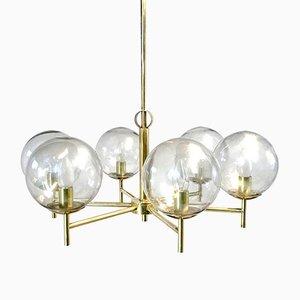 Lámpara de araña sueca Mid-Century de vidrio y latón, años 50