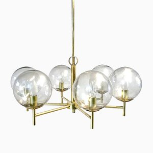 Mid-Century Swedish Brass and Glass Chandelier, 1950s